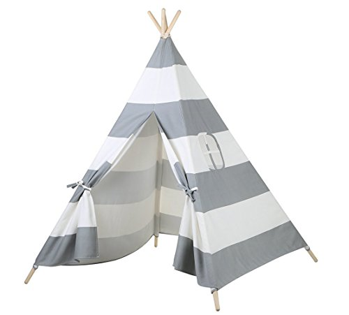 Steegic Portable Kids Cotton Canvas Teepee Indian Play Tent Playhouse – Grey Striped
