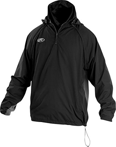 Rawlings Sporting Goods Mens Adult Jacket W Removable Sleeves & Hood, Black, Large