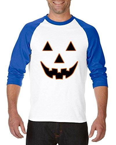 (Blue Tees Jack O' Lantern Pumpkin Face Halloween Fashion Party People BFF Couples Gifts Unisex Raglan Baseball T-Shirt Small White)