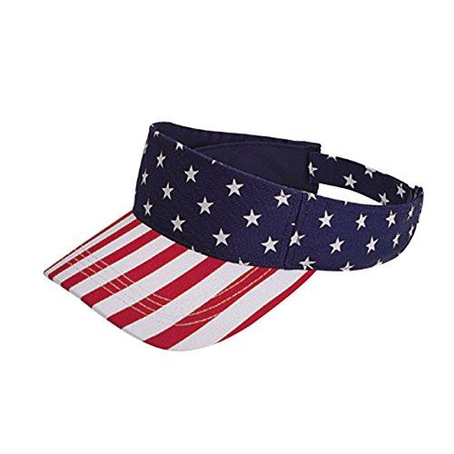 MG Unisex Pro Style Twill USA Flag Visor-4024 ()