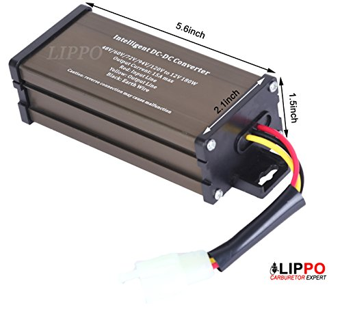 Pro Chaser DC-DC 120V 108V 96V 84V 72V 60V 48V volt voltage to 12V Step Down Voltage Reducer regulator 180W 15A for Scooters & Bicycles Golf cart (Print Battery Cart)