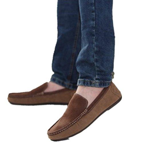 Bininbox Mocasines Con Cordones Para Hombres Zapatos Casuales Para Barcos Zapatillas De Deporte Con Suela De Cuero Deportes Atlético Correr Amarillo