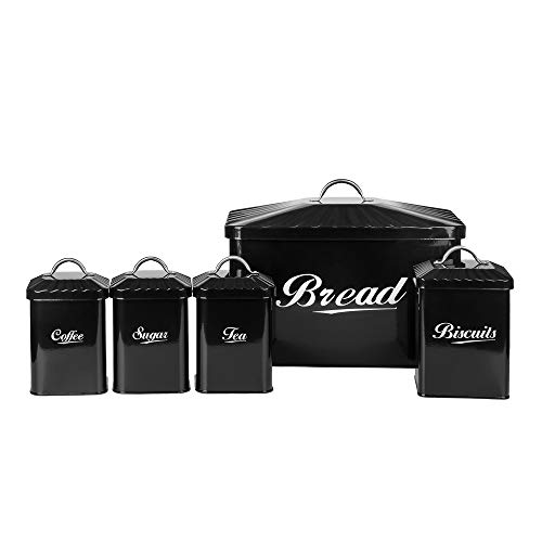Hot Sale Black X649 Metal Elliptical Home Kitchen Gifts Bread Bin/Box/Container Biscuit Tea Coffee Sugar Tin Canister Set