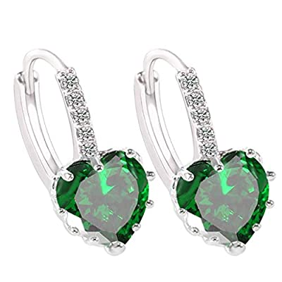 Gahrchian Rhinestones Earrings Stud Swarovski Crystal Pendant Earrings Stud for Women and Girls Gift Jewelry (Green): Clothing