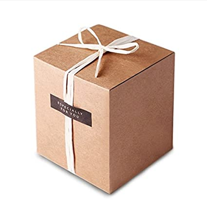 Hodleys 50pcs Kraft Favor Boxes, Rustic Kraft Paper Candy Box for Wedding Favor Baby Shower Favo (3 X 3 X 3)
