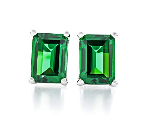 Acacia Jewelry 3.00 Carat (ctw) Octagon Shape Diamond Cut 8x6mm Emerald Green Color Nano Gems 925 Sterling Silver Heavy Mounting Stud Earrings Rhodium Plated