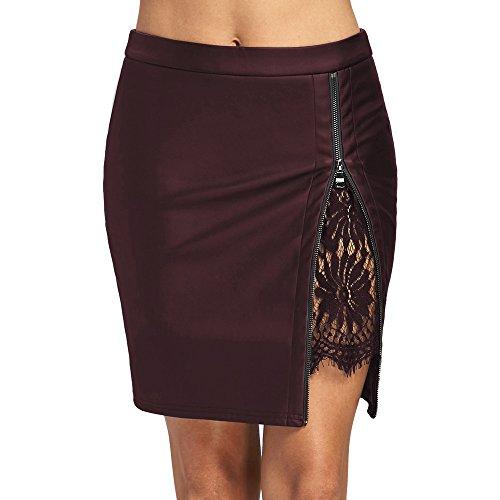 DEZZAL Women's Faux Leather Lace Insert Zip Up Bodycon Mini Skirt (XL, (Nfl Skirt)