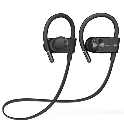 NOMSOCR Bluetooth Headphones, Wireless Earbuds for Sports Gym Running In Ear Earbuds, Waterproof & Sweatproof HD Stereo Bluetooth Earphones Noise Cancelling Headset (Black) by NOMSOCR