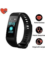 Awopee Smartwatch Pulsera Inteligente,Pulsera Inteligente Smartband Bluetooth,con Podómetro, Contador de Calorías y Kilómetros, Notificaciones de Mensajería y Llamadas, Monitor de Ritmo Cardiaco, A Prueba de Agua y Polvo, Compatible con Android y iOS