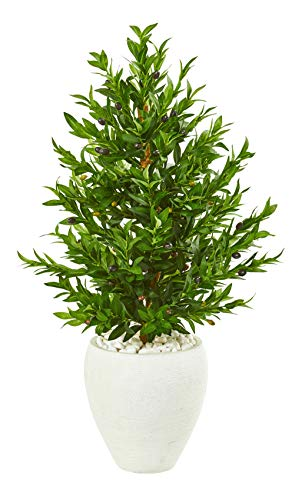 Artificial-Tree-35-Foot-Olive-Cone-Topiary-Fake-Tree-with-White-Planter-Indoor-Outdoor