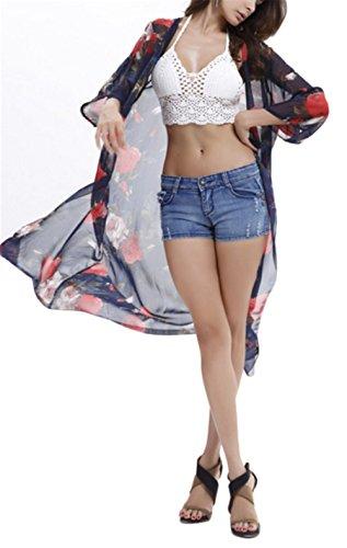 0eec06ee40964d Blansdi Damen Mädchen Frauen Sommer Boho Maxi Drucken Strandkleid  Trägerkleid Lose Chiffon Kleid Sommerkleid Maxikleid Bikini