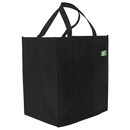 Tundra Tote Reusable Grocery Bags (5 Pack, Black) Extra Large, Heavy Duty Shopping Bags with Long and Durable, Reinforced Handles that Hold Over 40 Pounds.