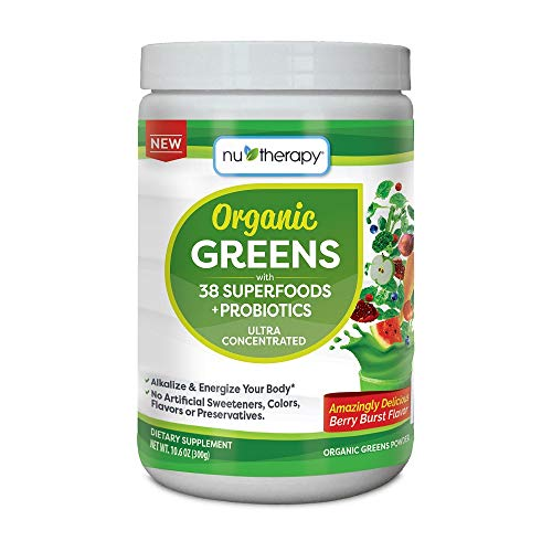 Alkalizing Powder (Nu-Therapy Organic Greens Superfood Powder, with Probiotics, Blueberry Burst Flavor, 30 Servings)