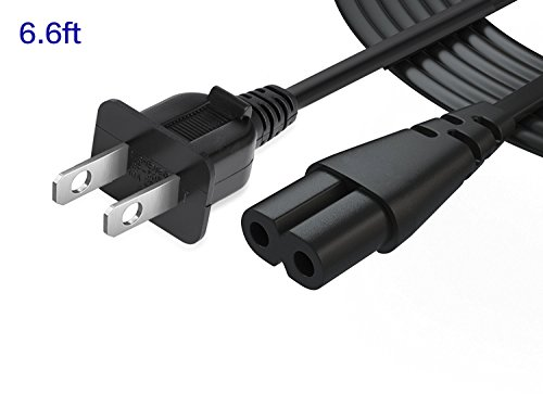 6.6FT 2 Prong Wall Extension Power Cable 2 Slot Cord for Sony PS2 Playstation, PS3 Slim,Sony Playstation 4 (PS4) Slim (1 Pack) ()