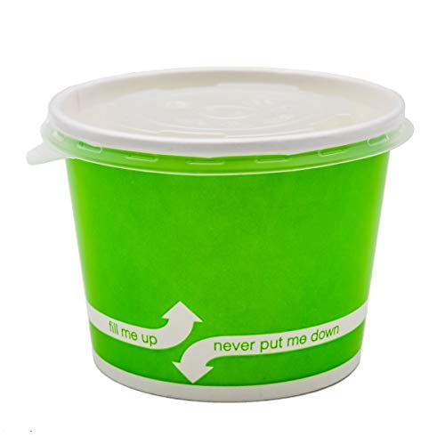 (100 Count Green Deli Containers Durable Food Storage Containers with Lids Hot and Cold Disposable 16oz Containers Use for Frozen Desserts, Soups, or Any Food of Your Choice )