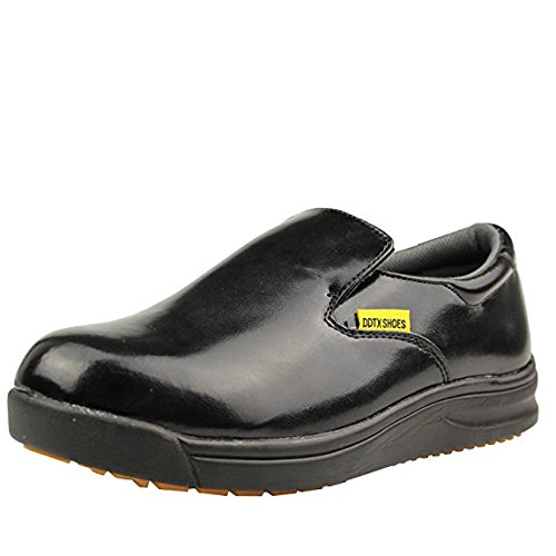 DDTX Men's Slip and Oil Resistant Slip-On Work Shoes Black(10)