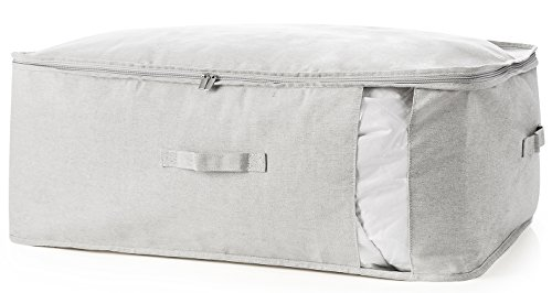(27.7 Gallon(105L)Storage Bags,MEETMISS Polyester-cotton Fabric Collapsible Underbed Storage Boxes Bins with Window and Handle Containers King Comforter Quilts Linens Blanket 27.55x19.68x11.81-IN Grey)
