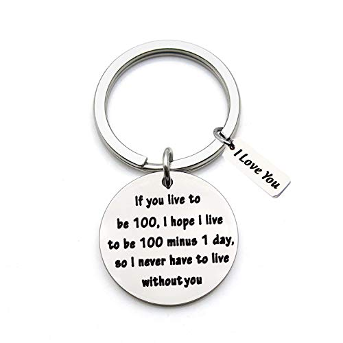 FEELMEM Long Distance Relationship Gift Love Lettering Keychain Valentines Day Boyfriend Gift Girlfriend Gift I Never Have to Live Without You Keychain (Silver)