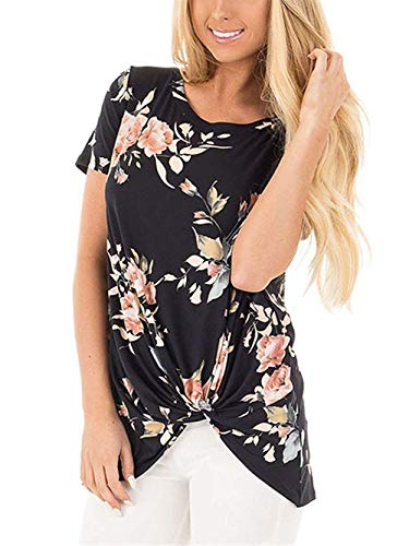 onlypuff Black Knot Shirts for Women Twist Floral Print Tunic Tops Casual Short Sleeve M