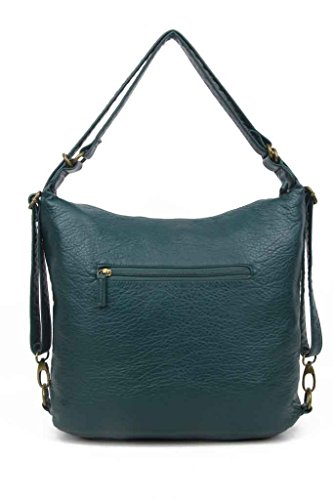 Convertible Soft in Shoulder Backpack Leather Bag and Vegan Forest Green Purse Both qqFpa