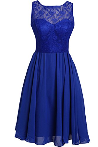 Festkleid A Zaertlich Abendkleid Rundkragen amp;Spitze Ivydressing Partykleid Chiffon Linie Royalblau Damen qfntn7O8