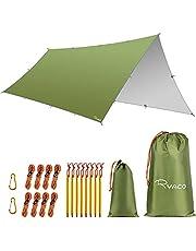 RYACO Hangmat Regen Fly Tent Tarp, 3 x 5 m Dekzeil Draagbare Zonnescherm Lichtgewicht Waterdicht Grondzeil Winddicht Camping Picknickmat Anti UV Zon Onderdak voor Sneeuw Camping(Army Green)