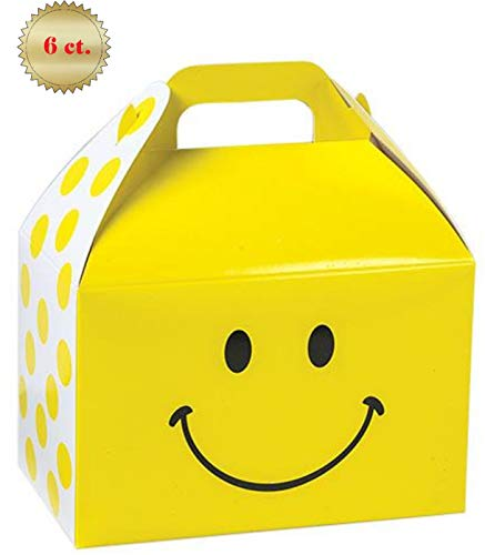 Large Paper Gable Style Favor Treat Boxes - Fun Party Play Goodie Bakery Packaging Closing Lid with Handle Yellow Smiley Face and Polka Dots 9.5 x 5 x 5 inch - 6 Count