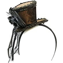 Ladies Brown Velvet Ornate Steampunk Mini Top Hat Headband