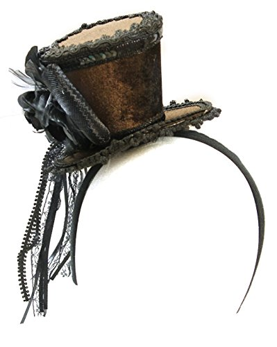 Ladies Brown Velvet Ornate Steampunk Mini Top Hat -
