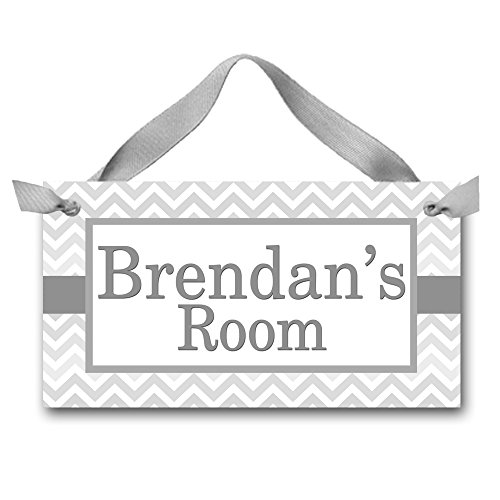 (Toad and Lily Grey Chevron Boys Door Sign Bedroom Baby Nursery Kids Bedroom DOOR SIGN Wall Art - or You Choose the Colours DS0138 )