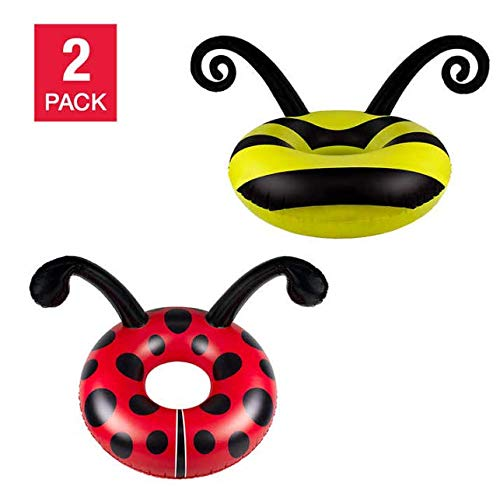 Pool-master 48 Inch Bumble Bee and Ladybug Swimming Pool Float Dual Pack