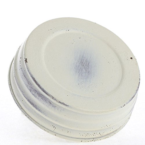 Package of 6 Distresed Ivory Painted Small Mouth Canning Jar Lids