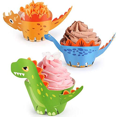 Cake Cool (Dinosaur Cupcake Toppers Wrappers Dinosaur Party Supplies, Cake Decoration Cool Boy Girl Kid's Dino Birthday Party Decoration, for Baby Shower B-day Party Favor (45 PCS))