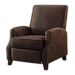 Farmhouse Accent Chairs Homelegance Walden Push Back Fabric Recliner, Brown farmhouse accent chairs
