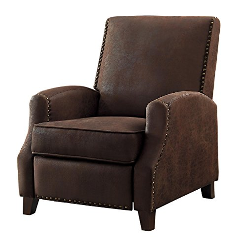 Homelegance Walden Push Back Fabric Recliner, Brown ()