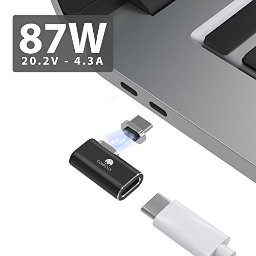 CONMDEX Compatible USB C Charger USB C L-Tip Magnetic Adapter MacBook Pro 4.3A 87W Fast Charge Type C Dongle Replacement Samsung Chromebook Dell XPS and Other USB C Devices(Black)