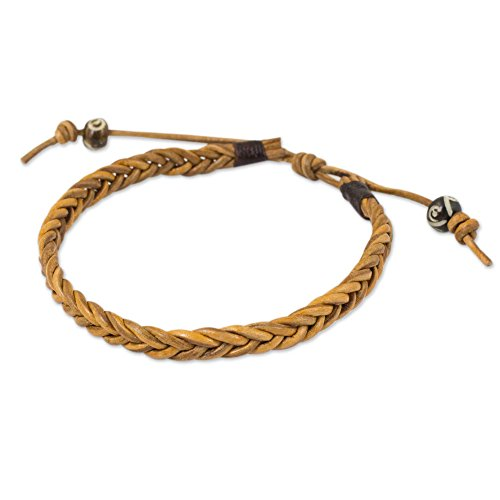 NOVICA Mens Braided Light Brown Leather Bracelet with Carved Beads, 7 Friendship