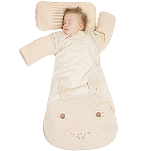 OuYun Baby Organic Sleeping Bag Autumn Detachable Sleeve Wearable Blanket For Winter, (Baby Sleeping Bag)