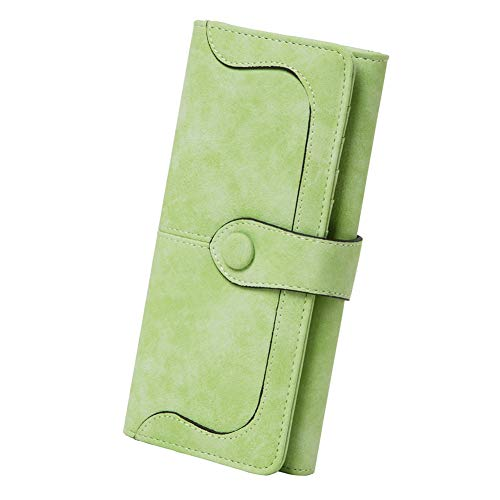 Women's Vegan Leather 17 Card Slots Card Holder Long Big Bifold Wallet,Light Green