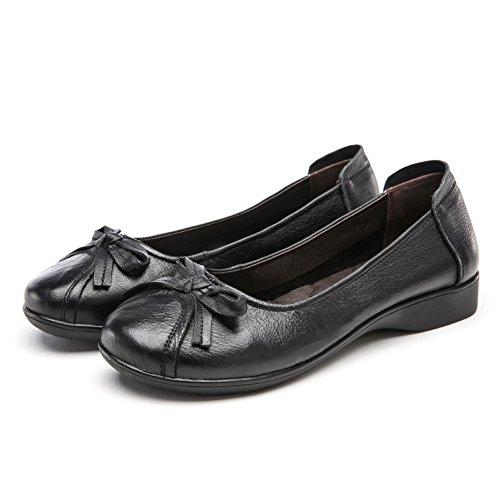la boca baja de los zapatos planos ocasionales/Primavera de cuero de tacón bajo los zapatos de suela blanda B