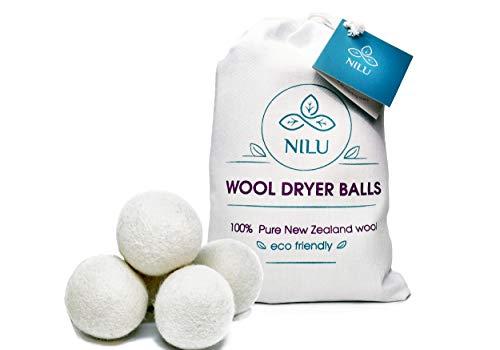 Natural Wool Dryer Balls - 6-Pack, XL-size - Premium Reusable Chemical-free Fabric Softener - 100% Organic New Zealand Lambs Wool ()