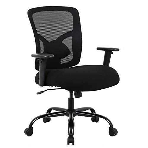 Big and Tall Office Chair 400lbs Wide Seat Cheap Desk Chair Ergonomic Computer Chair with Lumbar Support Adjustable Arms Task Rolling Swivel High Back Mesh Executive Chair for Adults Women,Black