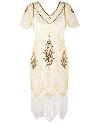 White Gold 1920s Sequin Art Dress with Sleeve