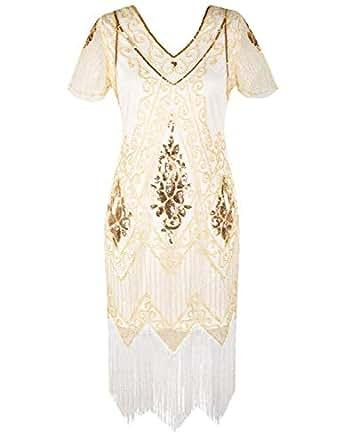PrettyGuide Women's 1920s Dress Art Deco Flapper Dress with Sleeve S Brown Beige