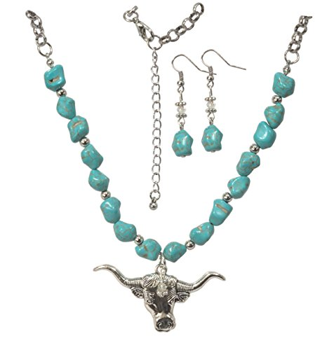 Turquoise Nugget Set - ViciBeads Set, Western Cow Faux Turquoise Nugget Silver Plated Austrain Crystal Pendant+ Earrings + :20