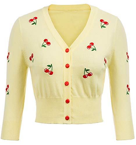 - Cardigan Sweaters for Women Cherries Embroidery Cropped Cardigan Sweater V-Neck Yellow 3/4 Sleeve Classic Knit Cardigans Size S BP609-4