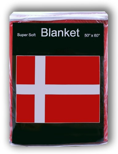 Denmark Danish Flag Fleece Blanket 5 ft x 4.2 ft. Throw Cover