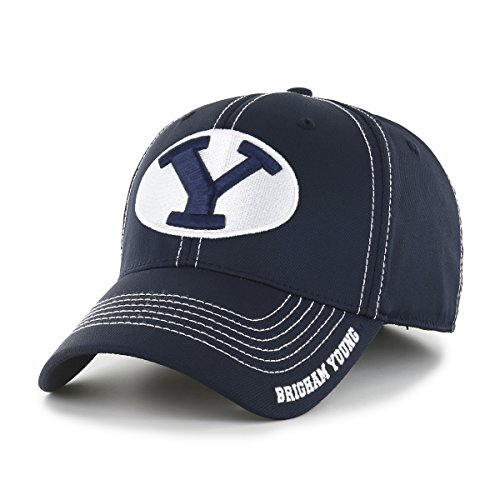 OTS NCAA Byu Cougars Adult Start Line Center Stretch Fit Hat, Large/X-Large, Navy