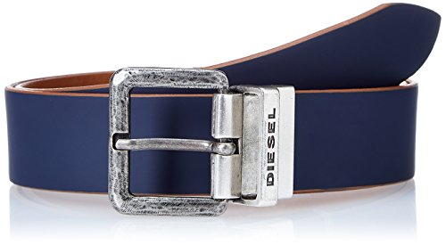 Collection Leather Belt (Diesel Men's Doublec Leather Belt, midnight navy/lion, 90)