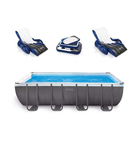 Intex 18' x 9' x 52' Ultra Frame Rectangular Above Ground Pool Set with Floats